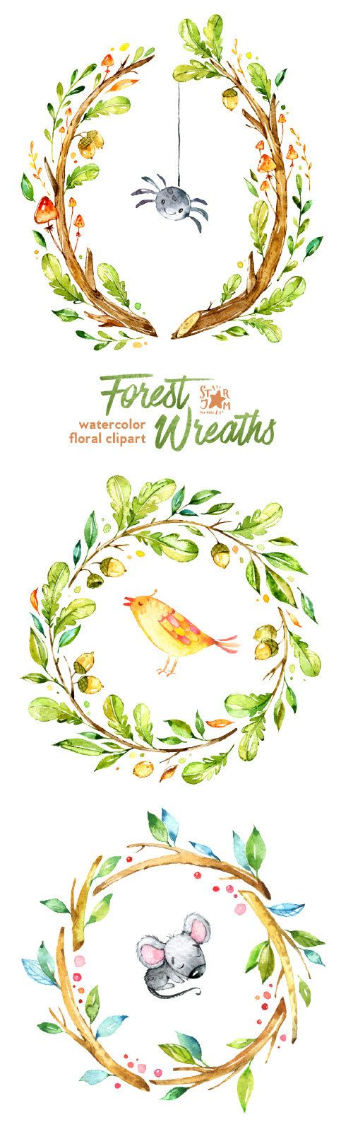 This Floral Forest Wreaths and other graphics Set is just what you needed for the perfect invitations, craft projects, paper products, party decorations, printable, greetings cards, posters, stationery, scrapbooking, stickers, t-shirts, baby clothes, web designs and much more.  ::::: DETAILS :::::  This collection includes 14 images: - 3 Wreaths in PNG files, transparent background, approx. size: 11.3x11.3in(3400x3400px) - 11 Elements(Branches, bird, mouse, spider) in PNG files, transparent…