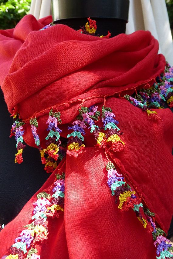 Turkısh Oya Trımmed Long Scarf / Shawl Red by Pllowcoversetc