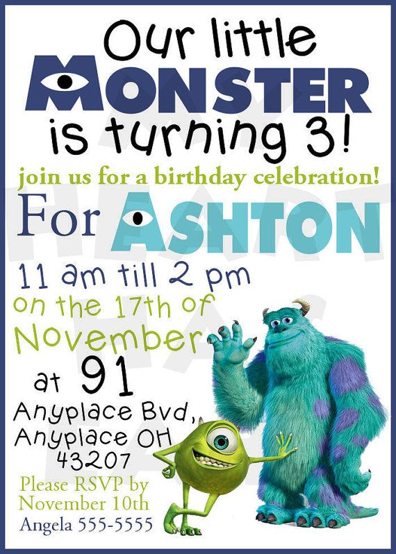 Printable DIY Monsters INC University digital birthday invitations on Etsy, $10.00