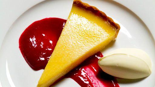 Slow Baked Lemon Tart Raspberry Coulis Double Cream - Master Chef Australia