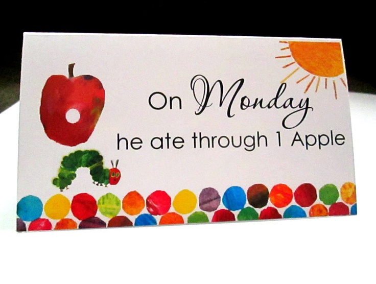 A Very Hungry Caterpillar Food Table Tent Cards. $13.50, via Etsy.