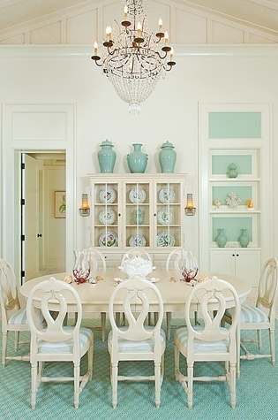 Dining Space ~ Cream & teal cleverly conceived with well chosen elements & decor.  Splendidly styled.