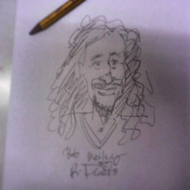 Instagram photo by @rockflores via ink361.com First sketch trying to draw Bob Marley.