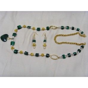 Malachite, pearl and crystal necklace, 88cm
