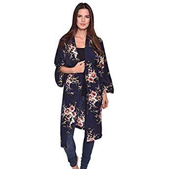 b98479da7 Lulla Collection Women's Kimono 100% Viscose Super Soft Fabric (Black Floral  Vines Print 2)
