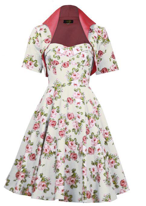 1950s Swing Dress Ensemble - Ivory Rose