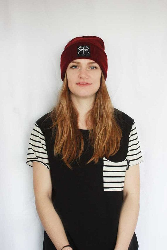 Burgandy beanie by Brahboys by Brahboys on Etsy striped t-shirt with pocket. Womens