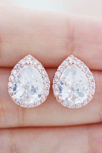 Luxury Halo Style Cubic Zirconia Bridal Earrings from EarringsNation Wedding Earrings Bridesmaid Gifts