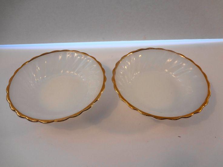 Two Anchor Hocking Suburbia Milk Glass Swirl Gold Rim Bowls Vintage 1970s by TresTresInteressant on Etsy