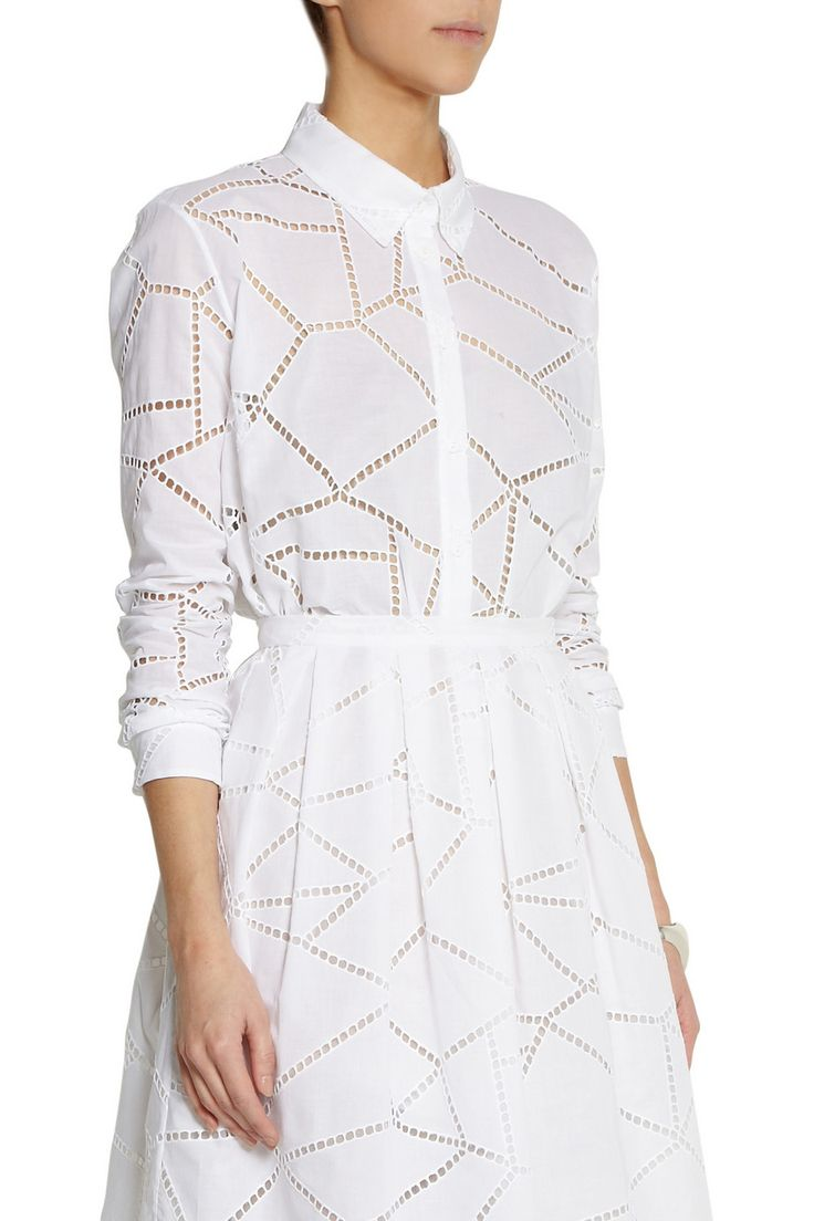 Christopher Kane Broderie anglaise cotton shirt #THEOUTNET