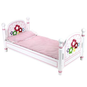 "White Hand-Painted Single Bed and Bedding Fits 18"" American Girl Dolls - This sweet white hand doll bed is perfect for any 18"" doll!  The set includes a pink gingham bedding set trimmed in lace to keep her warm all through the night. This hand painted bed set is made of excellent quality wood and is extremely sturdy."