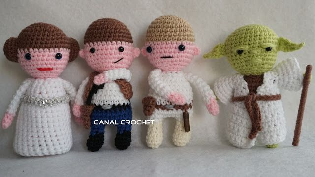 Star Wars 2 Amigurumi : Princesa Leia, Han Solo, Luke Skywalker y Yoda - Patrón Gratis en Español