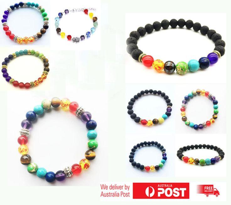 7 Chakra Healing Beaded Bracelet Jewellery Diffuser Natural Lava Stone Jewelry