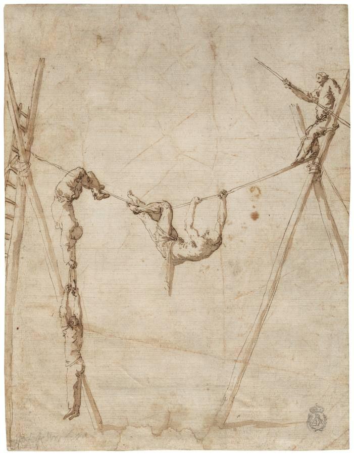 «Acróbatas en la cuerda», de José de Ribera. Pluma, tinta marrón y aguada marrón, finales de 1630