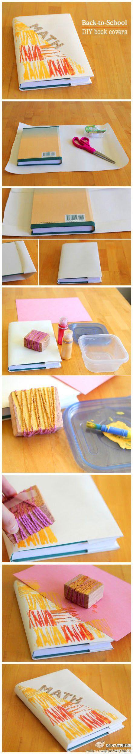 Origineel, mooi en eenvoudig!!! Zelf je kaftpapier of geschenkpapier stempelen. Papier, touw, blokje hout en verf.