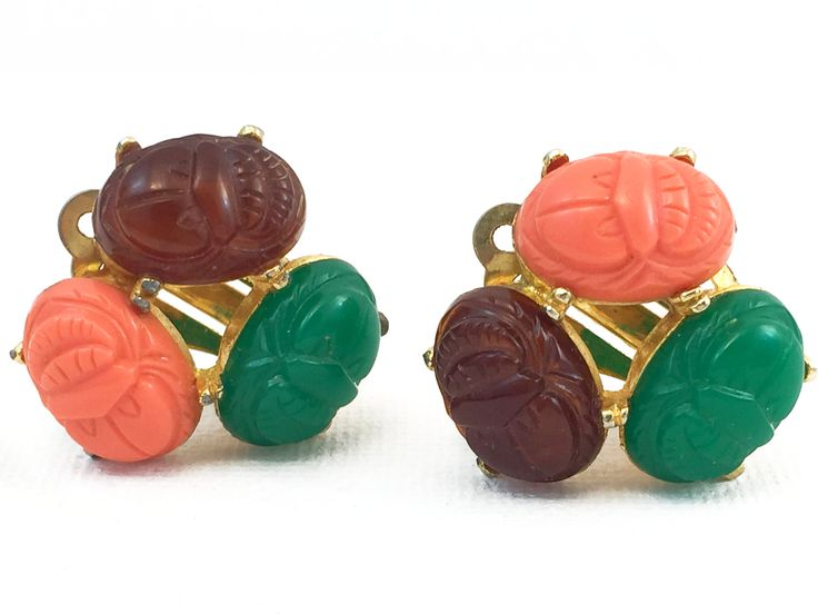 Vintage Earrings - Lucite Scarab Motif - Signed Celebrity - Circa 1960 - Scarab -Mothers Day Gift