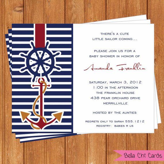 Nautical Sailing Boy Baby Shower Invitations-BSI194DIY  5.5 X 4.25 Editable Prin…