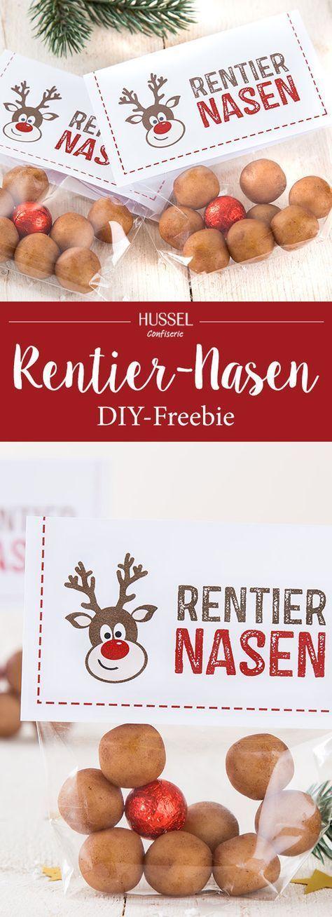DIY-Idee: Lustige Marzipan Rentier-Nasen als Weihnachtsgeschenk. Eine süße Ide…