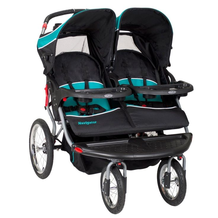 Baby Trend Navigator Double Jogger Stroller Tropic Large Storage Basket New