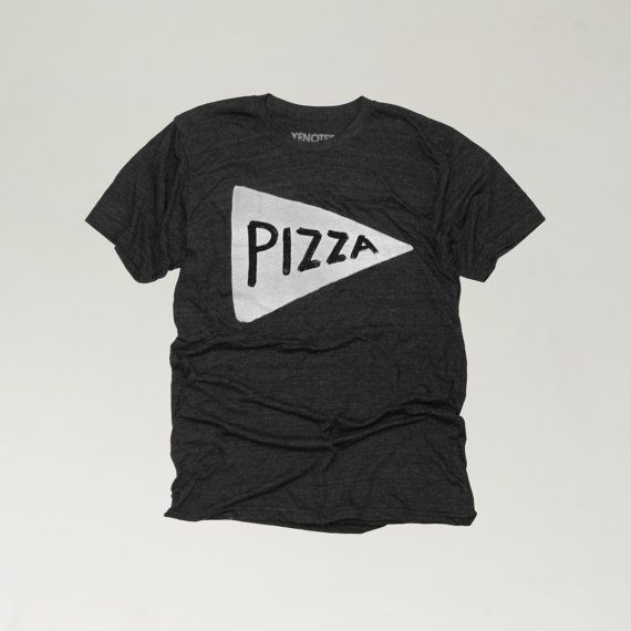 Mens Pizza Tshirt in Black, typography graphic tee, typographic t-shirt, mens t-shirt, typography tee shirt, cool gift for dad, made in USA