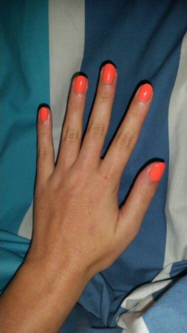 Fluro Orange Shellac. Round. 260615