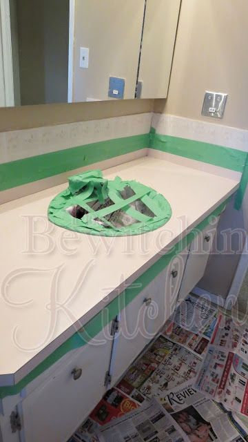 making your 90s bathroom counter tops less ugly for cheap!
