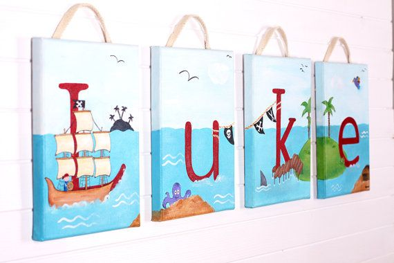 Nursery Wall Letter - Pirate - 'Treasure Island' - Original acrylic Painting on Canvas - One letter made to order - Wall Decoration -