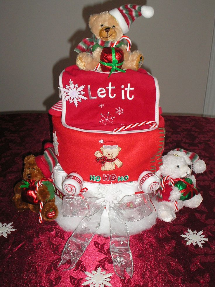 TOWEL BABY SHOWER CAKES | ... TIER CANDY CANE CHRISTMAS DIAPER CAKE – Creative Baby Shower Gifts