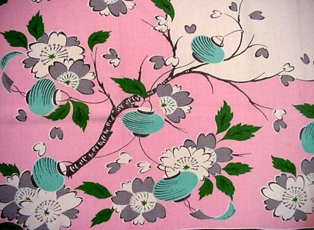 Vintage 50u0027s Pink Chinese Lantern Tablecloth Asian Floral Modern Cherry  Blossoms | EBay