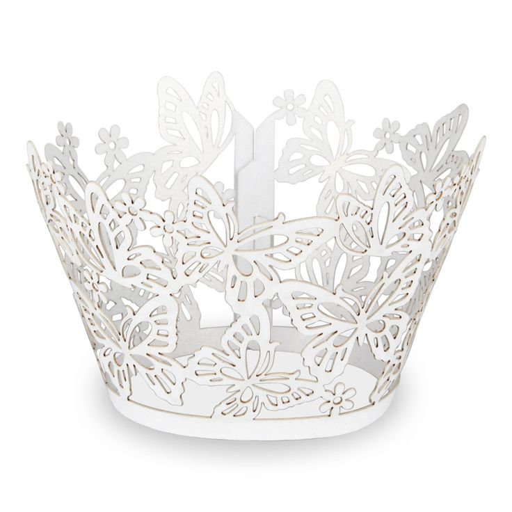 """Elfenstall Cupcake / Muffin Papierförmchen - Zierumrandung - Dekorand """" Schmetterlinge / Butterfly """" 10 Stück für Hochzeiten Partys oder Feste (weiss weiß white): Amazon.de: Küche & Haushalt"""