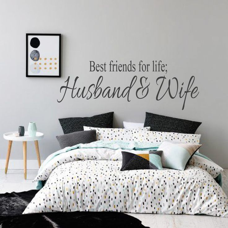 husband and wife bedroom wall decal, wedding gifts and ideas. Love quotes, husband and wife quotes. Adult bedroom decor. Marriage quotes. Mr & Mrs Wall Art Love quotes Home Decor bedroom ideas https://www.facebook.com/wallinkdesign01/photos/pcb.1419834181388548/1419831454722154/?type=3&theater