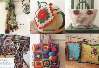 Crochet With Color. Японский журнал со схемами для любительниц вязать крючком уютные вещи для дома, предметы одежды и модные аксессуары