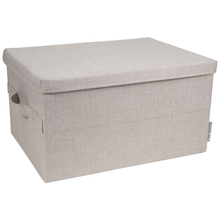 Box med lock BIGSO, Ljus grå / beige, Large