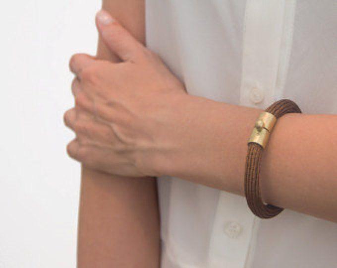 Brown Wire crochet bracelet,14k gold lock, Chunky bracelet,Woven jewelry Women bracelet,Gold brown bracelet,Knitted bracelet,Chunky bracelet