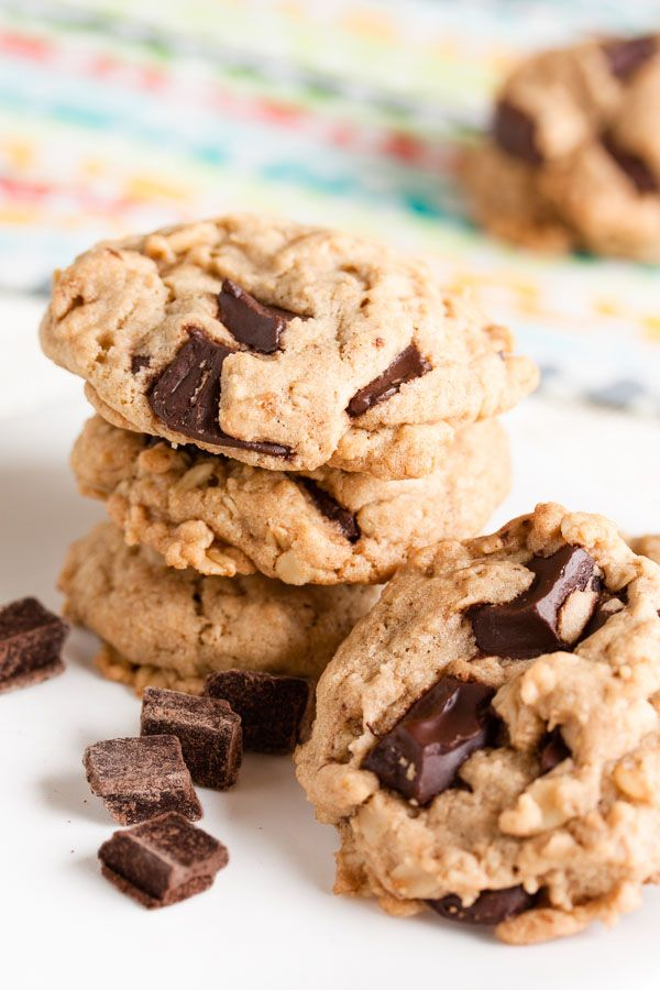 These Coconut Oil Oatmeal Chocolate Chip Cookies are dense and moist and chewy and loaded with flavour.