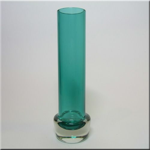 Aseda Glasbruk Swedish turquoise + clear cased glass vase, pattern number B5/130, 210 mm tall, designed by Bo Borgstrom.