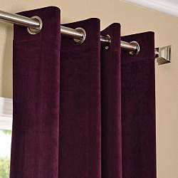 "Eggplant Grommet Velvet Blackout Curtain Panel | Overstock.com $115 for 108"" length x 50"" width. Also see majestic plum curtain also $115."