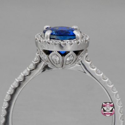Deco Sapphire Engagement Ring - with small diamonds underneath the halo setting