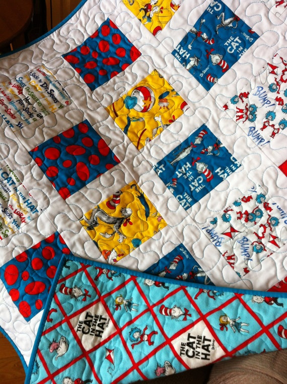 Baby boy quilt dr seuss fabric baby quilt turquoise for Boy quilt fabric