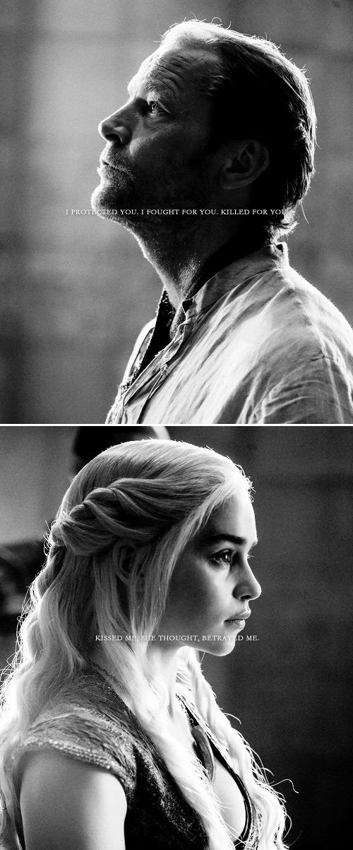 """Ser Jorah Mormont + Daenerys Targaryen: I cannot bear to see his face. """"Remove this liar from my sight,"""" she commanded. I must not weep. I must not. If I weep I will forgive him. #got #asoiaf"""