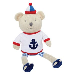 Large nautical sailor knitted teddy bear toy