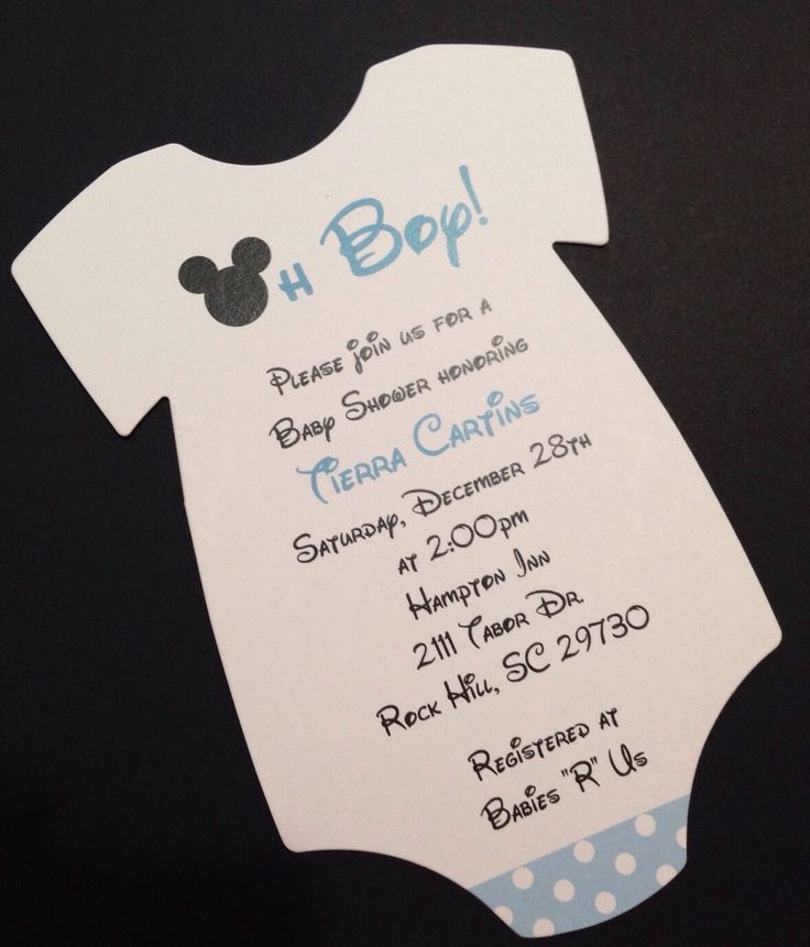 Blue Mickey Mouse Onesie Baby Shower Invitation   All Wording Customized for You