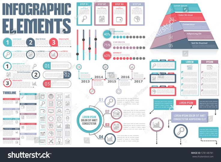 Infographic Elements - process infographics, workflow diagrams, timeline infographics, steps and options, pyramid chart, table, text box, flowchart design elements, vector eps10 illustration #InfographicsProcess