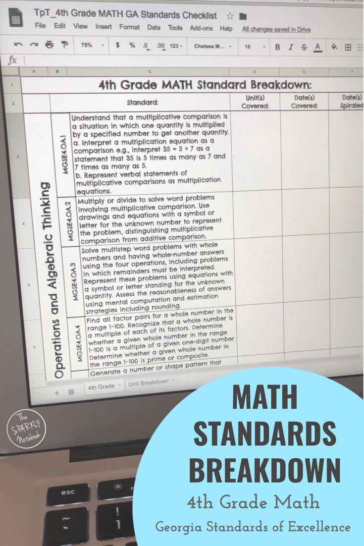 4th Grade Math Standards Breakdown - Georgia Standards of