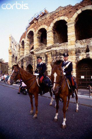 Mounted Police Outside Arena Verona. Italy