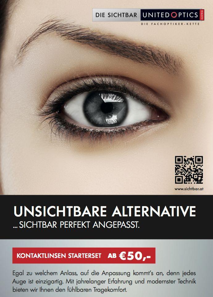 Perfekte Kontaklinsen-Anpassung! SichtBar United Optics Plakat.