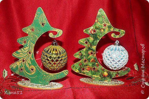 Декор предметов Новый год Декупаж Мои первые ёлочки Краска Салфетки фото 1