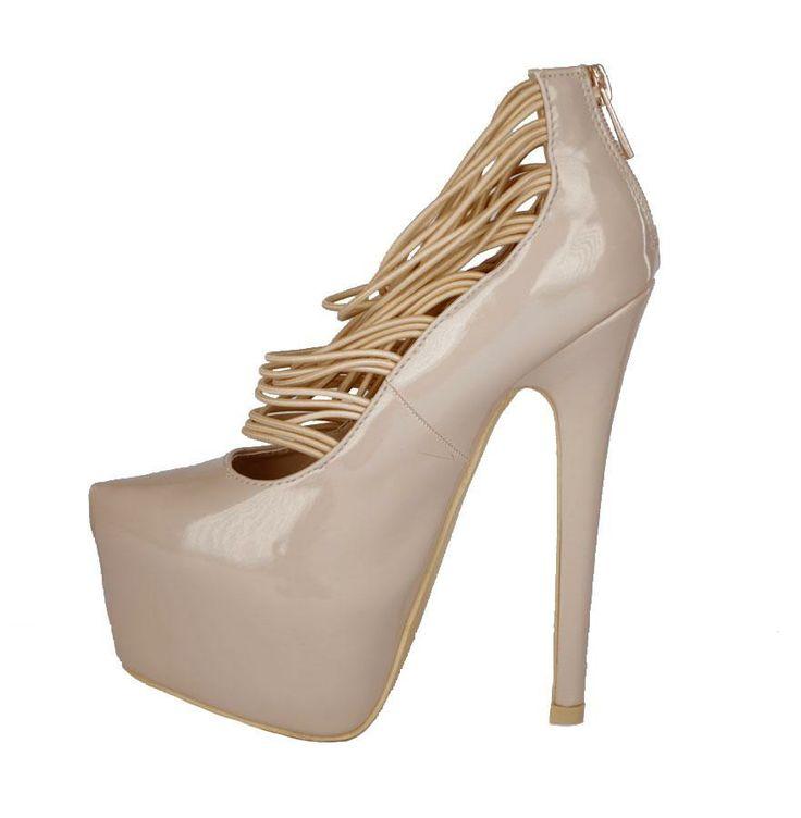 Pantofi Dama Reflection Beige  -Pantofi dama lacuiti  -Toc 16cm  -Platforma 5cm  -Detaliu varf ascutit  -Se inchid cu fermoar la spate