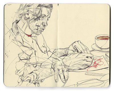 A sketchbook of shared memories can be a powerful memento. Page from James Jean's sketchbook, 2007.