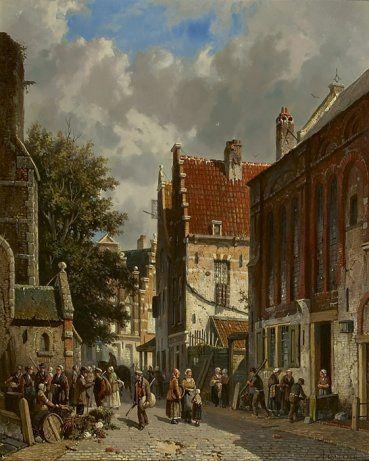 Adrianus  Eversen | 1818 - 1897 - Drukbevolkte zonnige straat achter een kerk